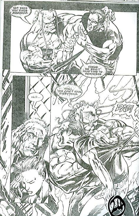 Sample pages from the unpublished Roid Rage. Art by Andrew Currie and Bryan Hitch. The series was cancelled just as the first issue reached the printers.