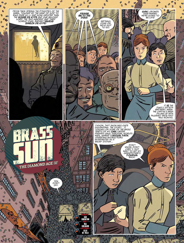 A page from Brass Sun from 2000AD Prog 1850. Art by I.N.J. Culbard.