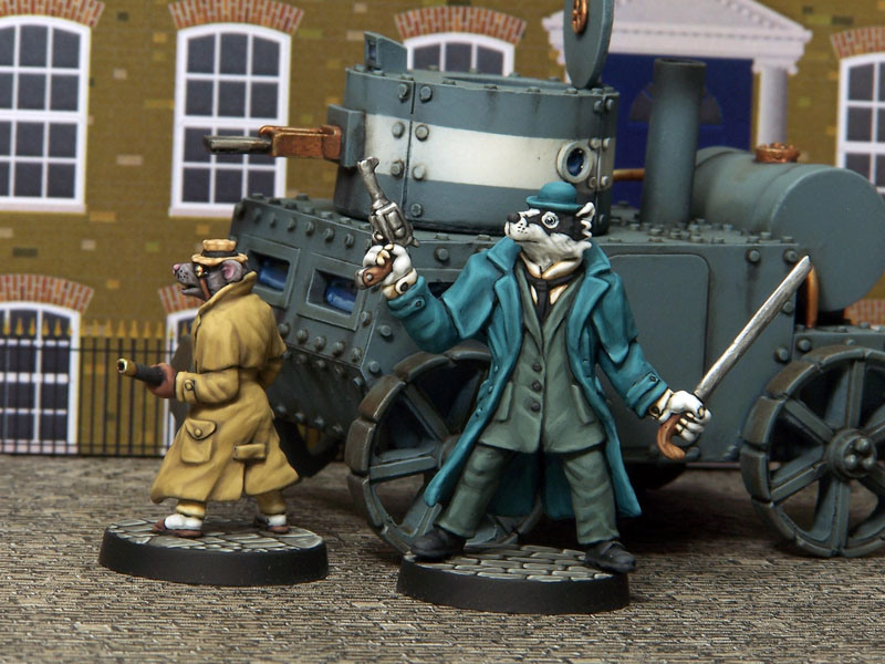 Inspector LeBrock and Ratzi, sculpted by Jo Brumby, painted by Kevin Dallimore