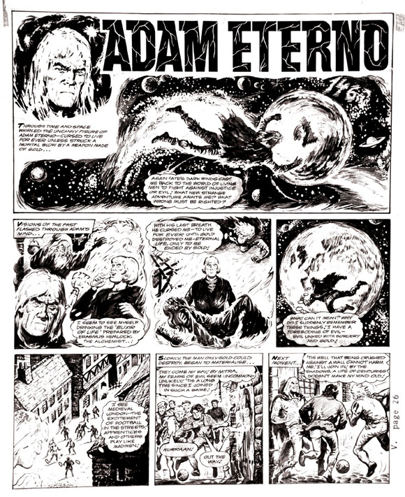 The origin of Adam Eterno is retold in this page by Solano Lopez for a 1960s issue of Valiant.