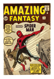 A bright, fresh lightly restored copy of Amazing Fantasy #15, the first appearance of Spider-Man. Front cover Marvel chipping has been professionally restored and the spine neatly re-enforced.