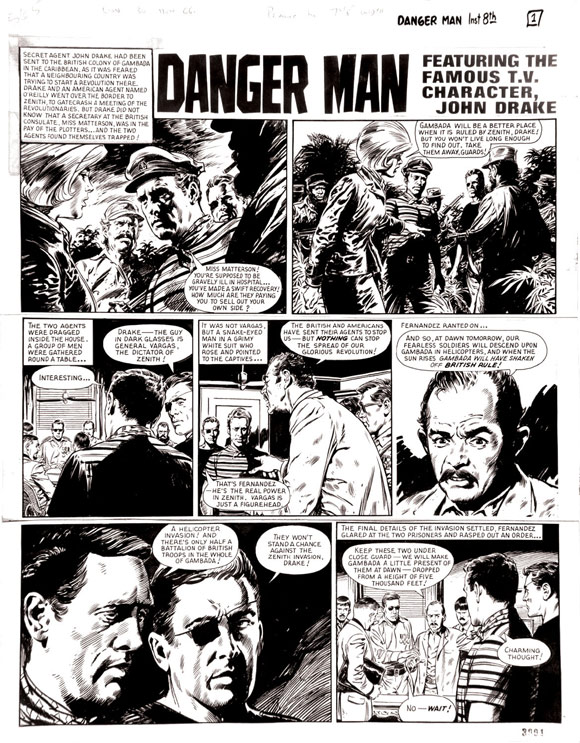 Danger Man original artwork by Jesus Blasco  for Lion 30 July 1966