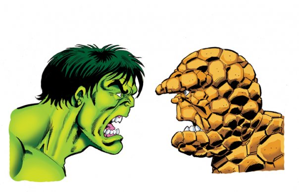 "One of Simon Williams' original ""Hulk versus Thing"" artworks. Artwork © Simon Williams. Hulk, Thing © Marvel Comics"