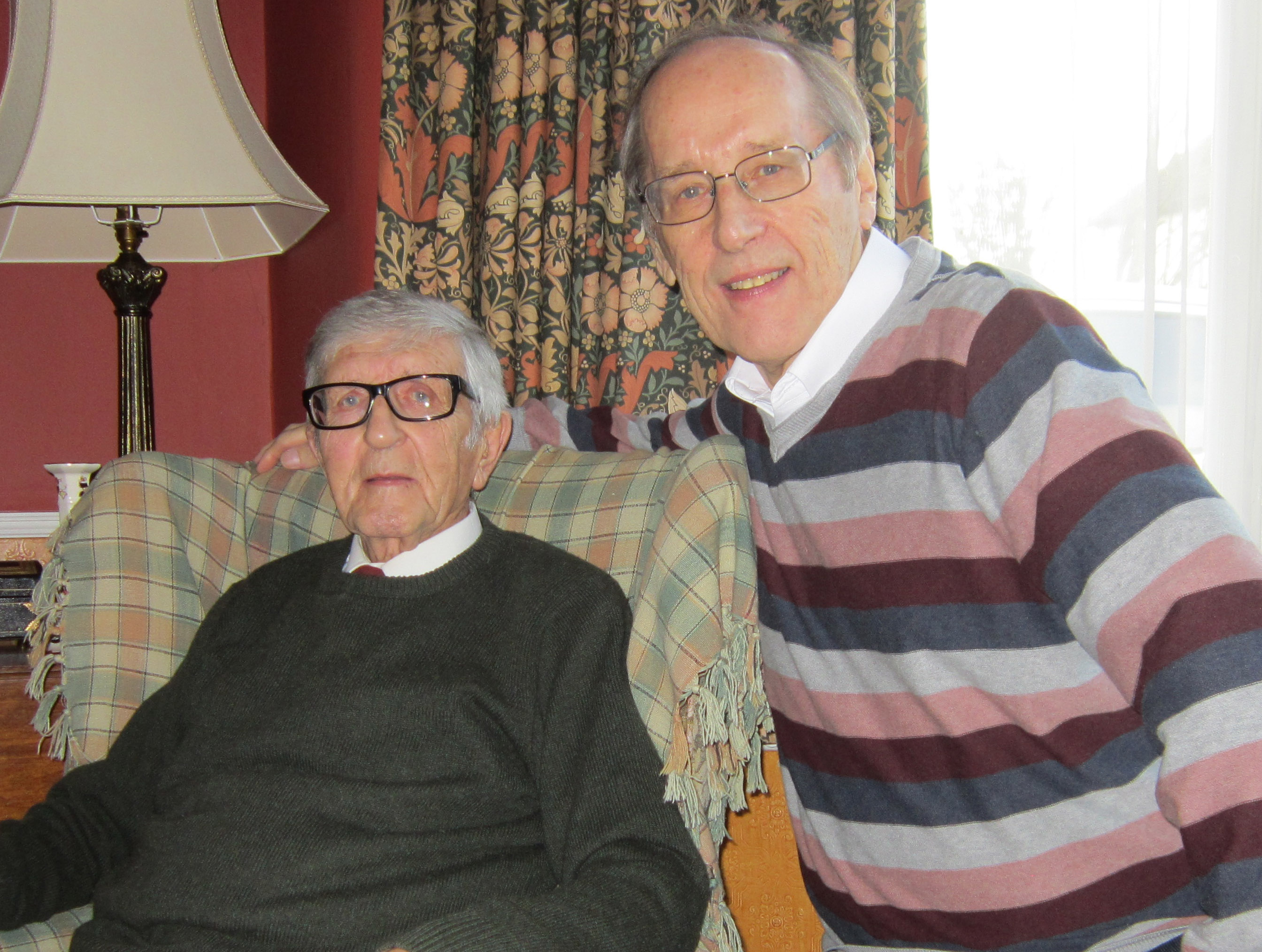 Veteran British comic artist John Gillatt with writer and editor Barrie Tomlinson, January 2014. Photo courtesy Barrie Tomlinson