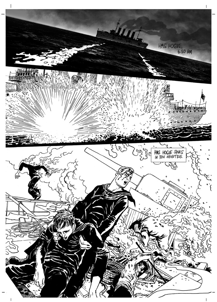 "A page from ""Dead in the Water"" for To End All Wars. Story by Ian Douglas. Art and letters by Stjepan Mihaljevic"