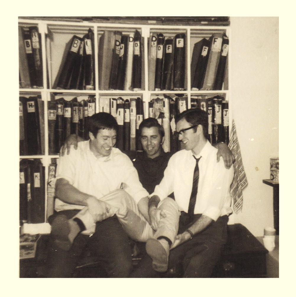Artists Tony Harding, Mike Lacey and Barrie Mitchell goofing about at Link Studios. Photo courtesy Antony Harding