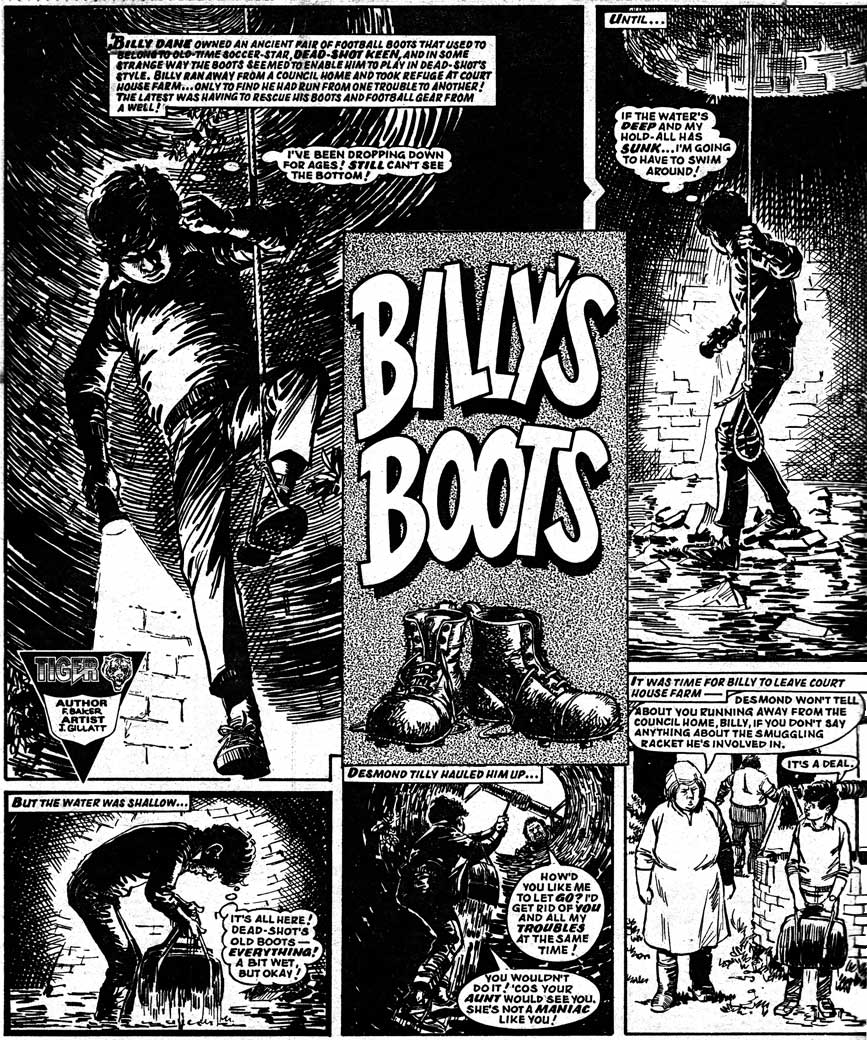 "A page of ""Billy's Boots"" by John Gillatt from Lion and Tiger, 28th September 1985."