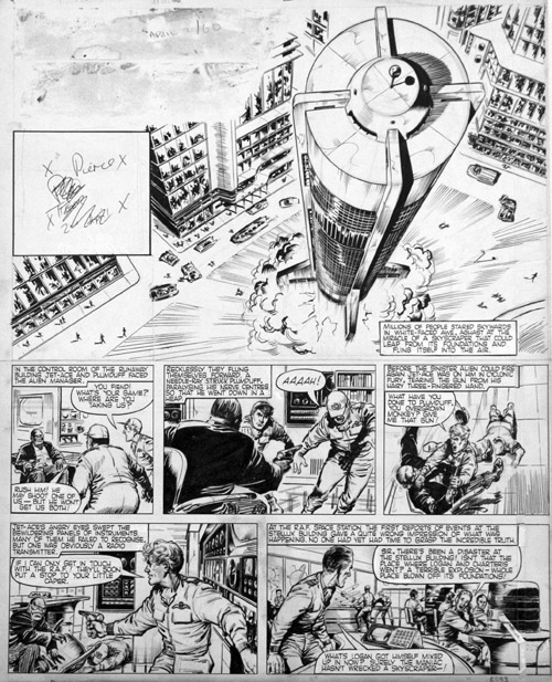 "A page of ""Jet Ace Logan"" drawn by John Gillatt that featured  in Tiger, cover dated  2nd April 1960."