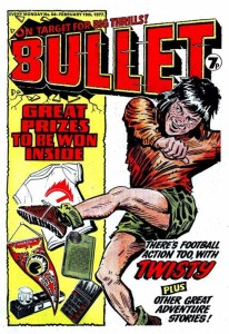 "A cover for DC Thomson's Bullet featuring ""Twisty"", drawn by Tony Harding."