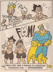 Eric Wimp becomes Bananaman. Art © DC Thomson