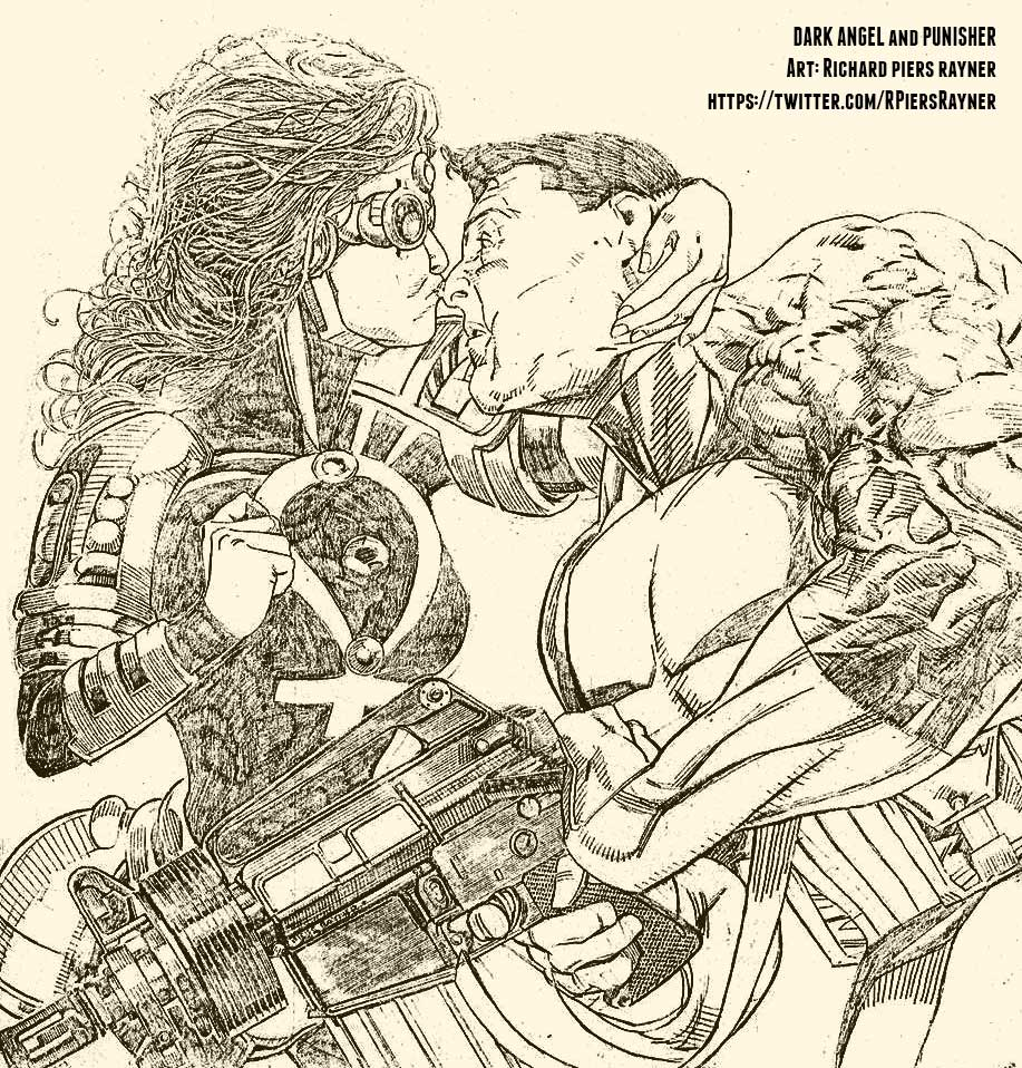 """A previously-unpublished artwork by Richard Piers Rayner featuring Marvel UK's """"Dark Angel"""" and The Punisher."""
