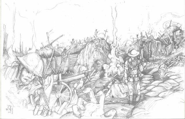 Art by Timothy Teague for the upcoming Memorial - The Great War Centennial Anthology based on a script from Ferg Handley.