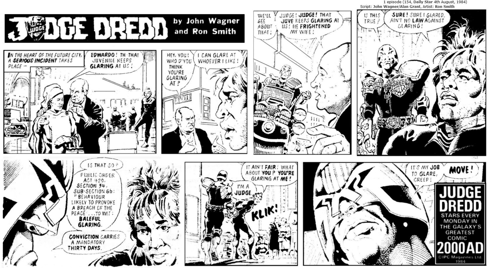 Judge Dredd Daily, 4th August 1984: Glaring