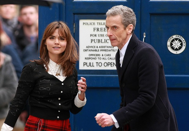 "Jenna Coleman as Clara and Peter Capaldi as the Twelfth Doctor on location for one of the final scenes in ""Deep Breath"""