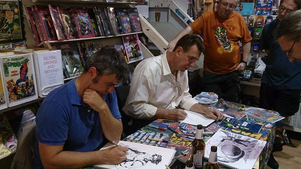 Roland Boschi and Steve Rude sketching and signing at the International Comics Expo 2014 in Birmingham. Photo: Shane Chebsey