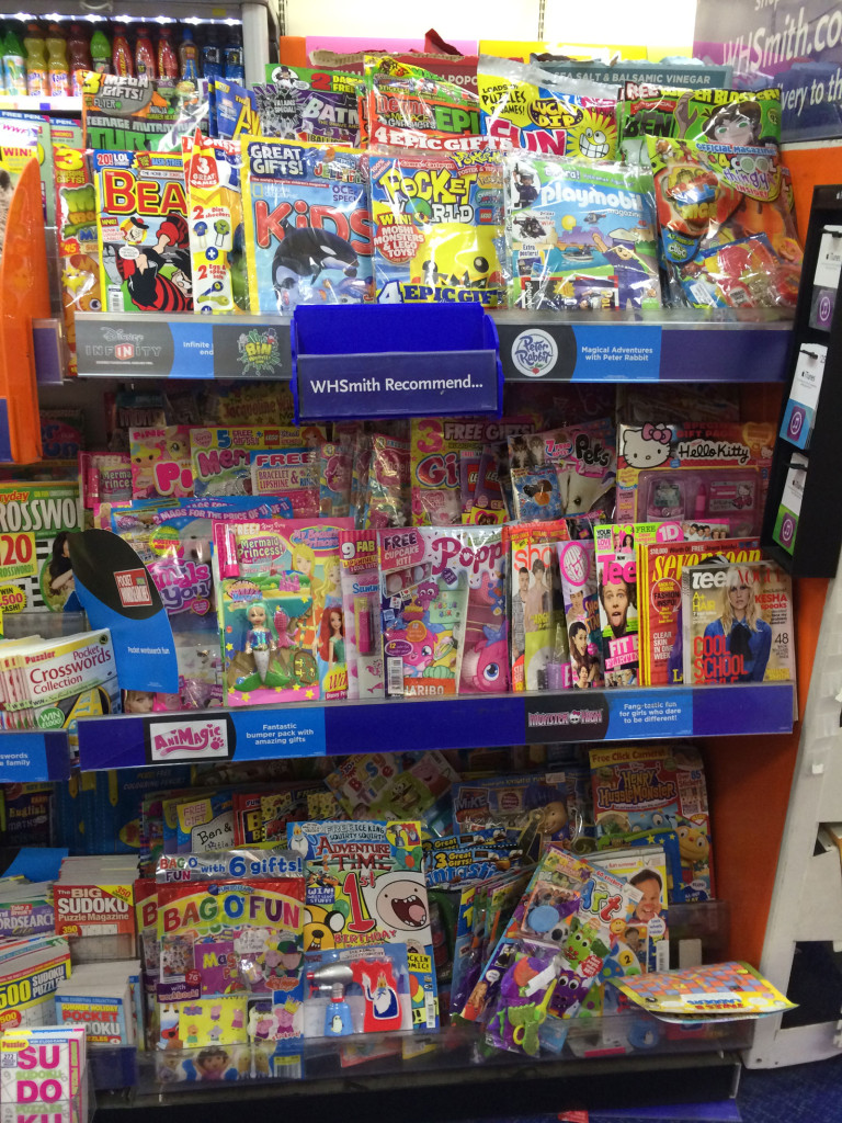 A snapshot of WH SMiths Lancaster's childrens' comics and magazines section. Titles such as 2000AD, Commando and Titan and Panini's superhero titles are racked separately with film, TV and gaming magazines.