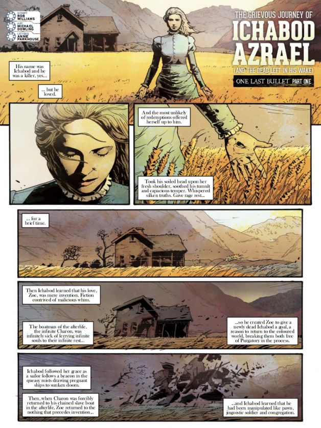 """The opening page from """"The Grievous Journey of Ichabod Azrael (and the dead left in his wake): One Last Bullet"""""""