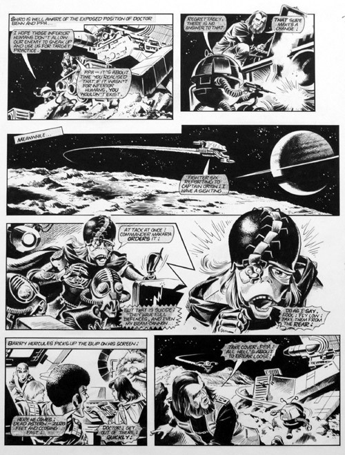 "A page of ""Starfleet"" for Look-In by MIke Noble. The series is known as ""X-Bomber"" in Japan."