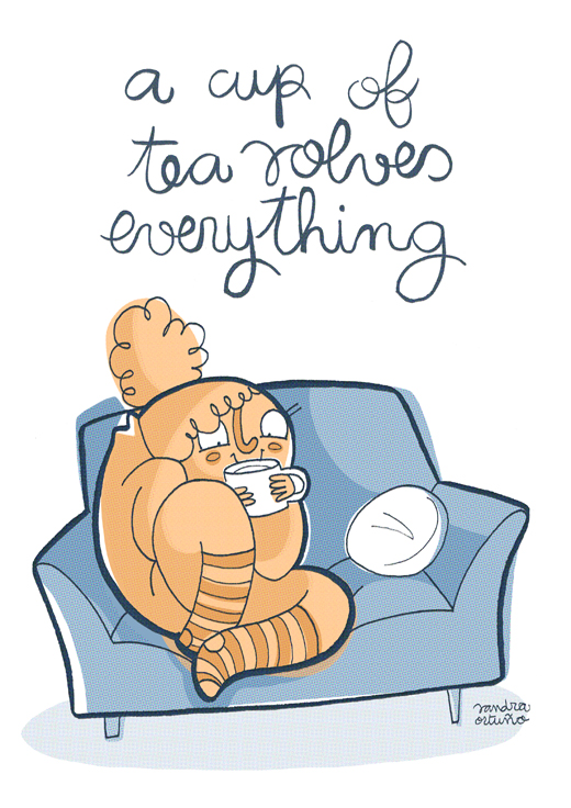 A Cup of Tea Solves Everything: Illustration by Sandra Ortuño