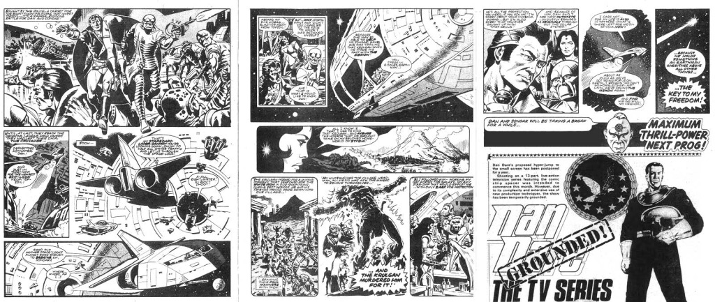 The final pages of Dan Dare in 2000AD Prog 126, with Dan on the run and branded a traitor.