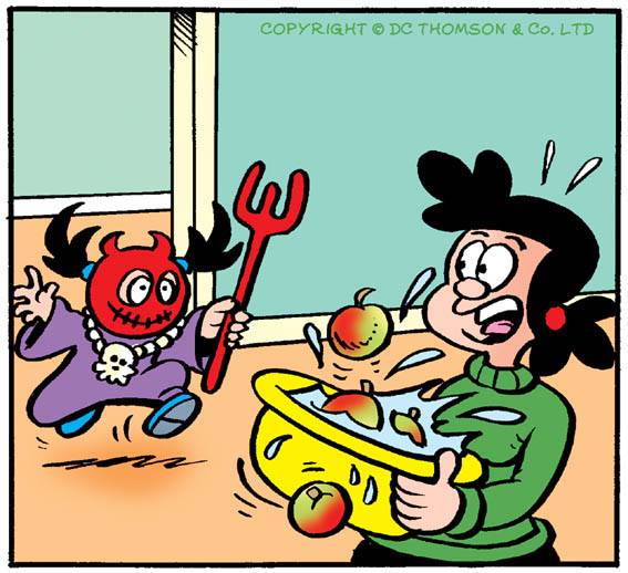 "A panel from the Hallowe'en-themed episode of ""Ivy the Terrible"" in The Beano, on sale this week. Art by Lew Stringer. Image © DC Thomson"