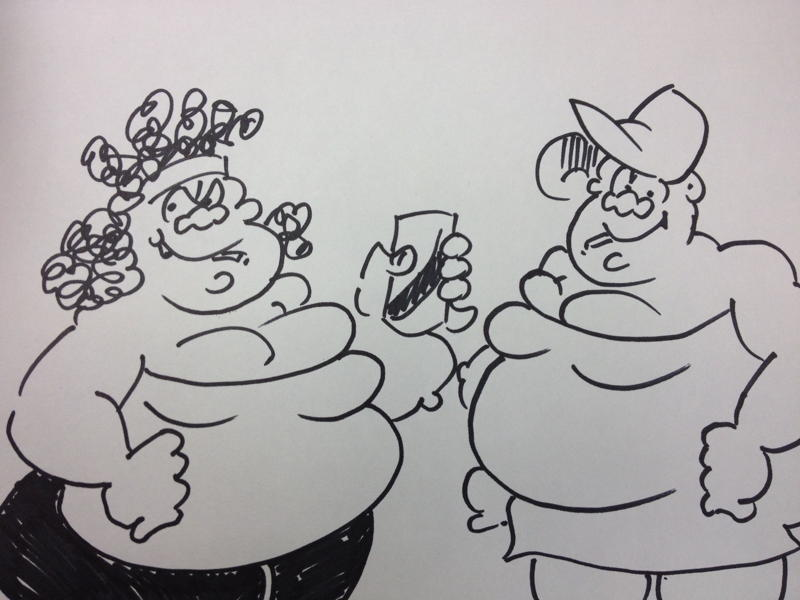 Fat Slags drawing A3 by Graham Dury