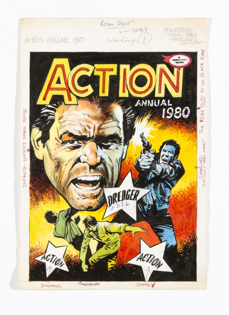 Action Annual 1980 original preparatory artwork by Mike Western with margin editorial comments. From the archive of Jan Shepheard, Fleetway art editor