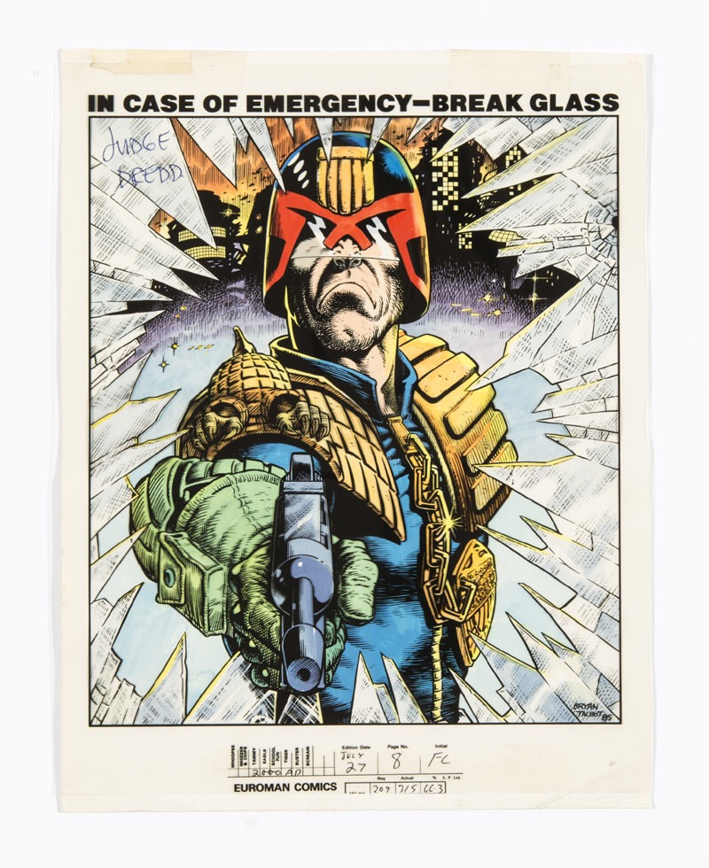 Judge Dredd 'In Case Of Emergency - Break Glass' acetate overlay on colour backing card (1985) by Bryan Talbot for Page Eight of 2000AD Prog 428 (This is not the original Talbot artwork but the acetate overlay printed from it to facilitate the colour sheet beneath for final printing)