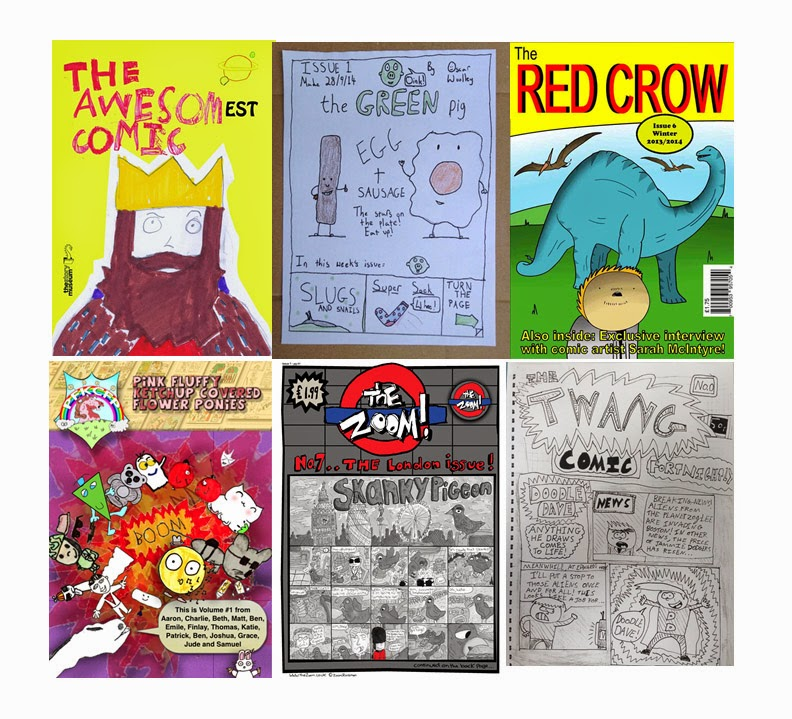 (Clockwise from top left: The Awesomest Comic by Various Artists, The Green Egg by Oscar Wooley, The Red Crow by Jordan Vigay, Pink Fluffy Ketchup Powered Flower Ponies by Team Ketchup, The Zoom by Zoom Rockman, The Twang by... umm, this fantastic kid who was at a school workshop I did the other day but whose name I totally failed to get a note of. I'M SORRY! Your comics were awesome!)