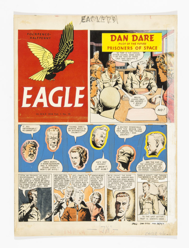 Dan Dare original artwork by Desmond Walduckfrom The Eagle Volume 5, Number 29, published in 1954.