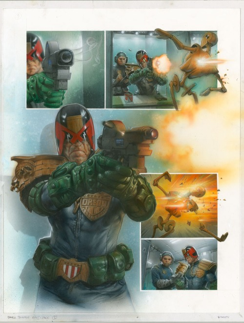 "An unlettered page from ""Judge Dredd: Dark Justice"" by Greg Staples, launching in Prog 2015."