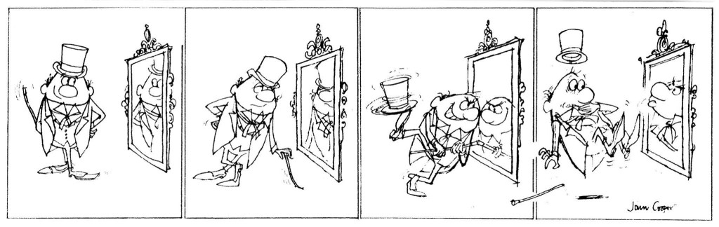 One of John's earliest published works, in 1962: a cartoon strip for the 1963 Swift Annual (with thanks to Steve Holland)