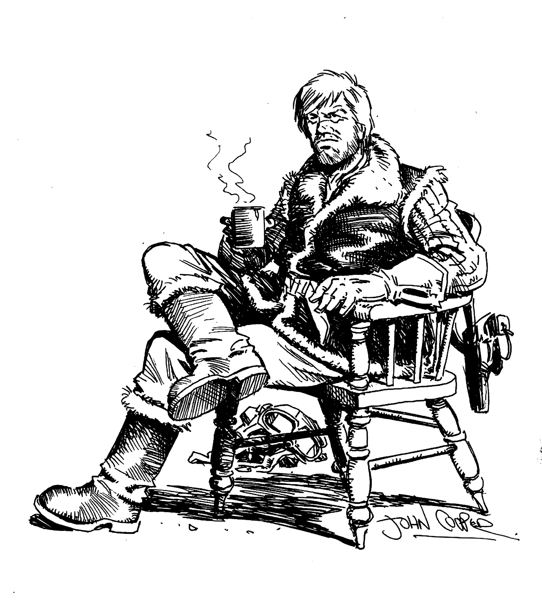 John Cooper's portrait of Johnny Red, drawn for the 2003 Raptus Festival program.