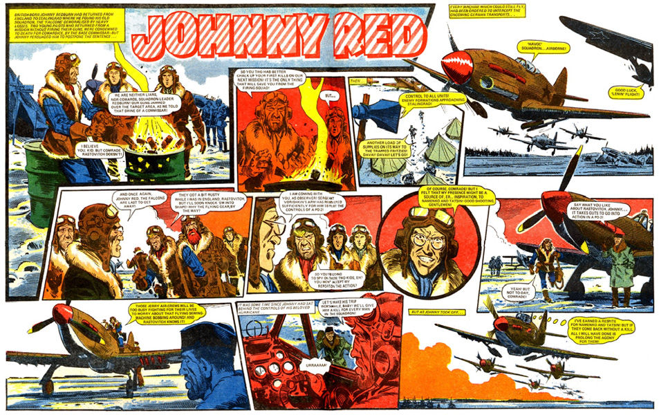A Johnny Red spread from Battle drawn by John Cooper, script by Tom Tully.