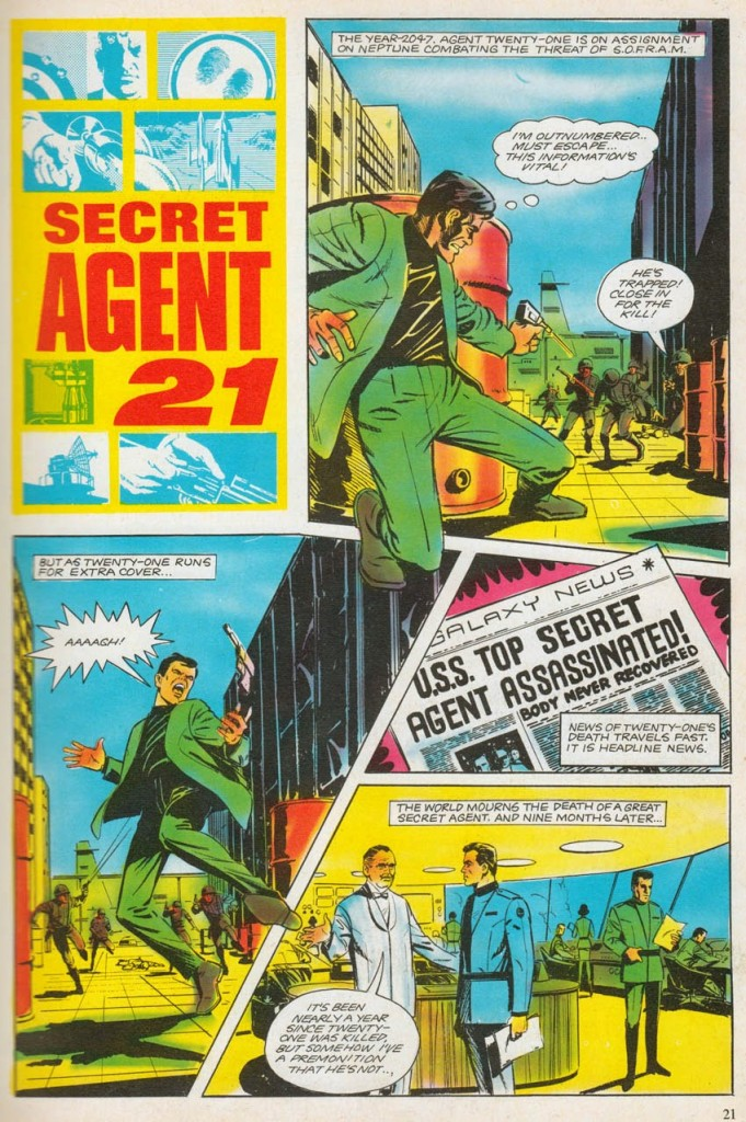 """John Cooper's first comic strip work, a Secret Agent 21 story for the 19968 annual, which had the working title """"Mission Impossible"""", not featured in the published story. Secret Agent 21 © Anderson Entertainment"""