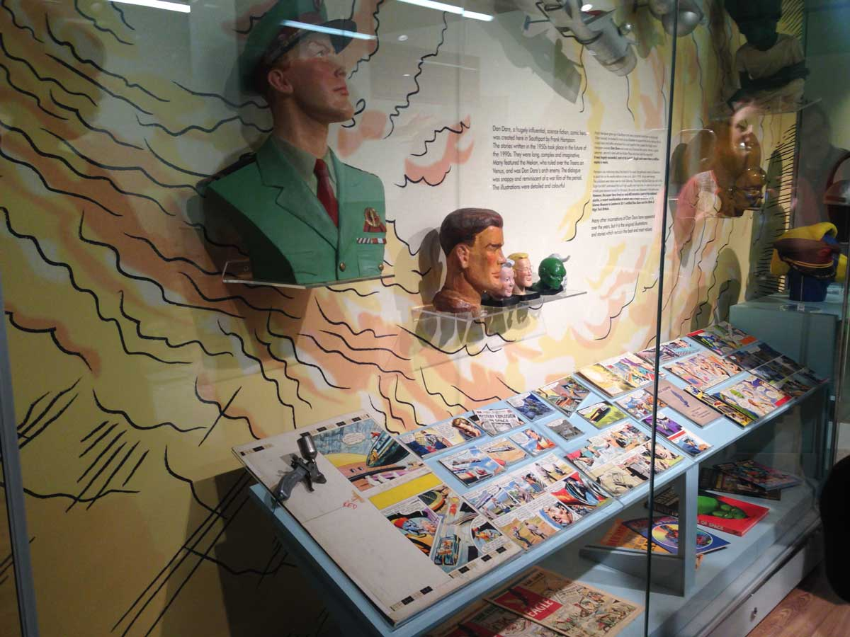 The permanent Dan Dare exhibit at the Atkinson, Southport. Image courtesy the Atkinson.