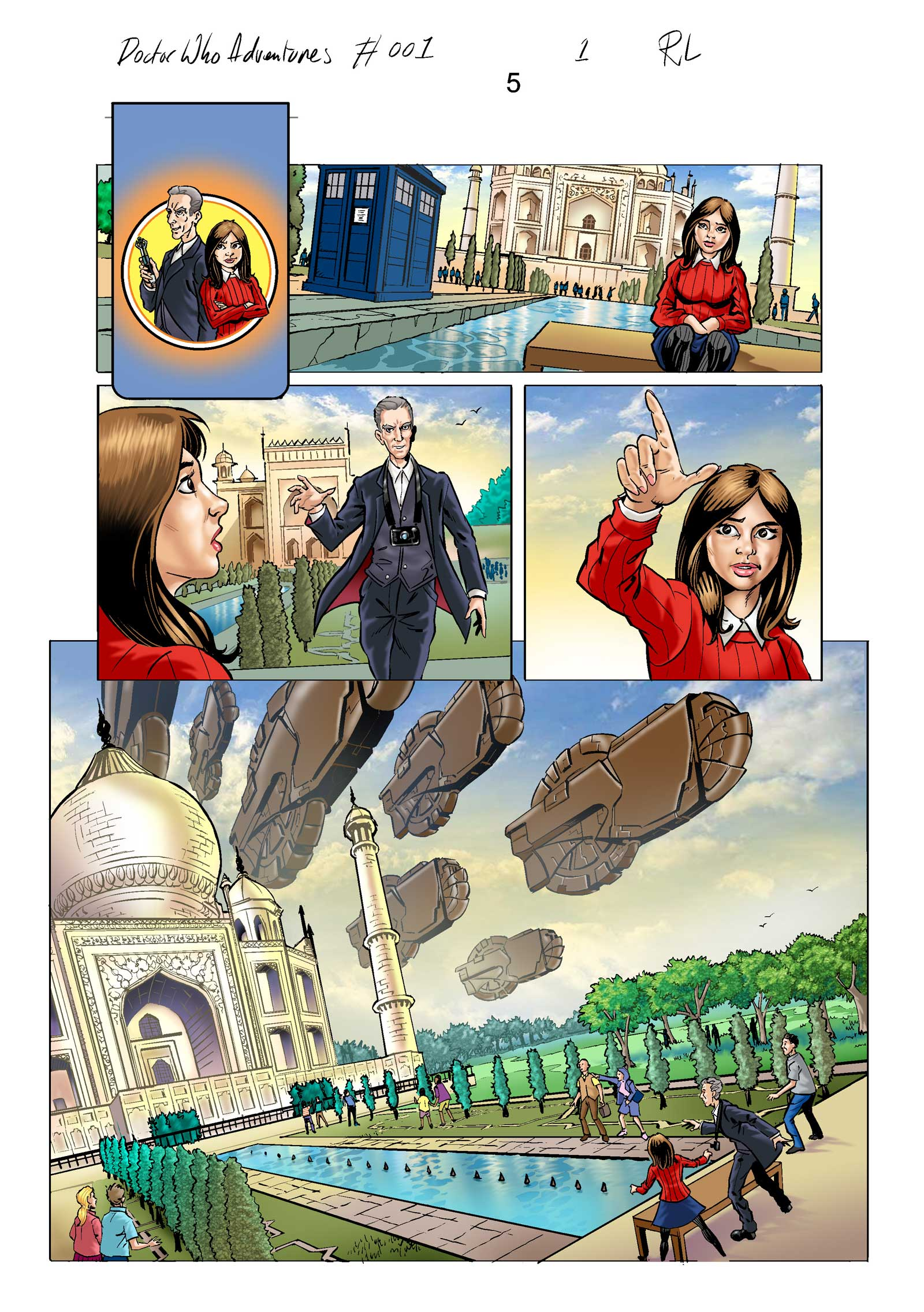 Work in progress on the strip for Doctor Who Adventures Issue One. Art by Russ Leach