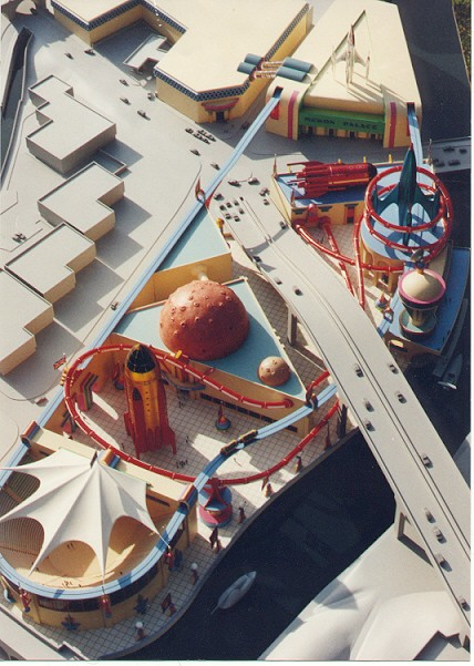 """A model for """"Space City"""" a Dan Dare-inspired theme Park built by Fingertip Fabrications."""