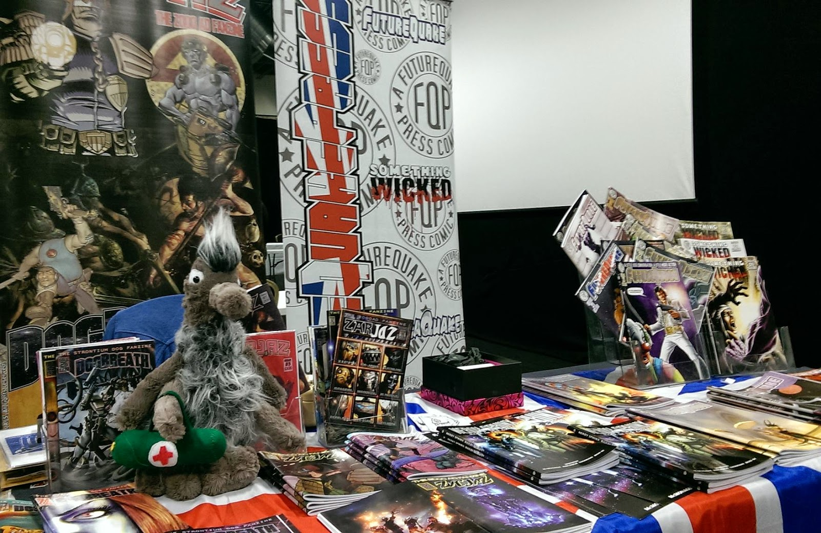 The FutureQuake Press table at the Birmingham Comics Festival - with added Gronk! Photo: Bolt-01