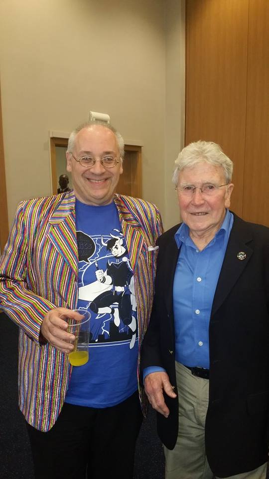 Convention co-organiser Steve Tanner with veteran artist Ian Kennedy - his first ever comics event outside Scotland. The Festival was also the occasion Ian and Keith Page met for the first time too. Photo courtesy of Steve Tanner.