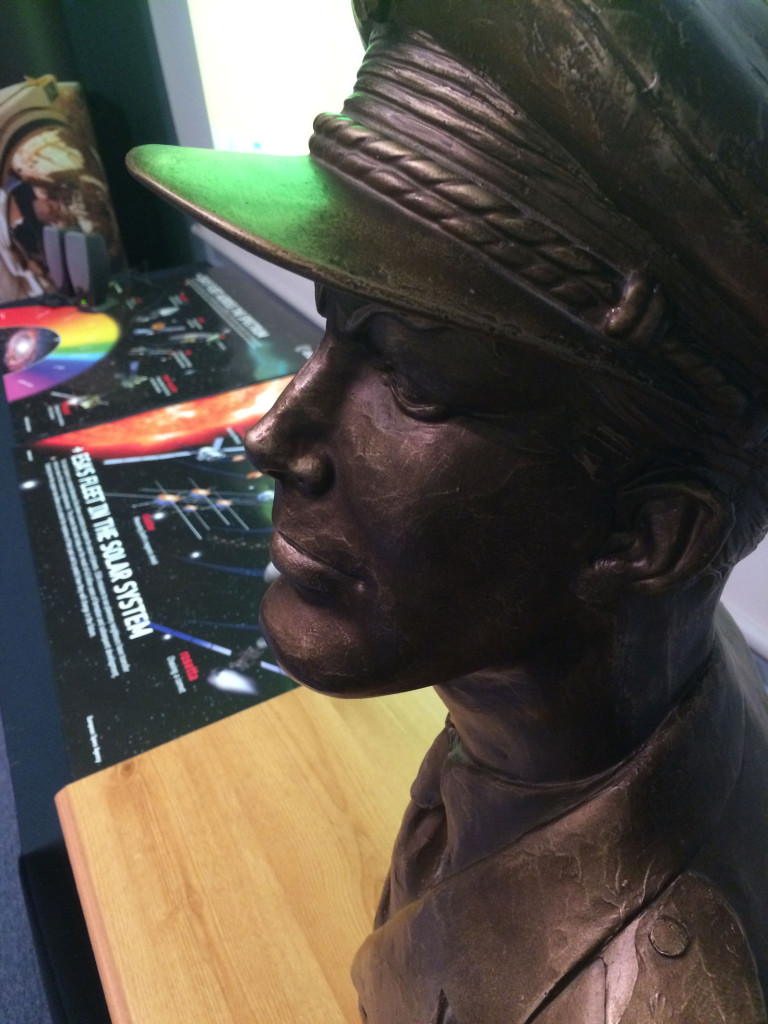 """A magnificent Dan Dare bronze on display during """"Yesterday's Tomorrow"""" event at the British Interplanetary Society in April 2015."""
