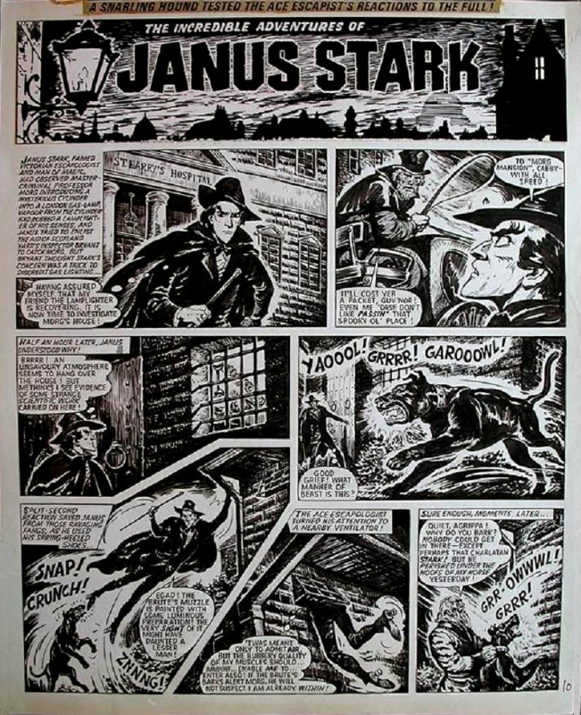 """A typical page of """"Janus Stark"""", drawn by Solano Lopez."""
