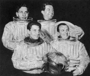 """Pressure suits from the Royal Aircraft Establishment at Farnborough were used for publicity purposes to promote Charles Chilton's """"Journey into Space"""""""