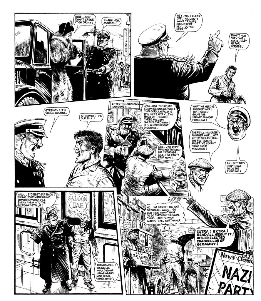"""Constantly acerbic, Pat Mills delivers a final punch to his """"Charley's War"""" story with this page set in the 1930s..."""
