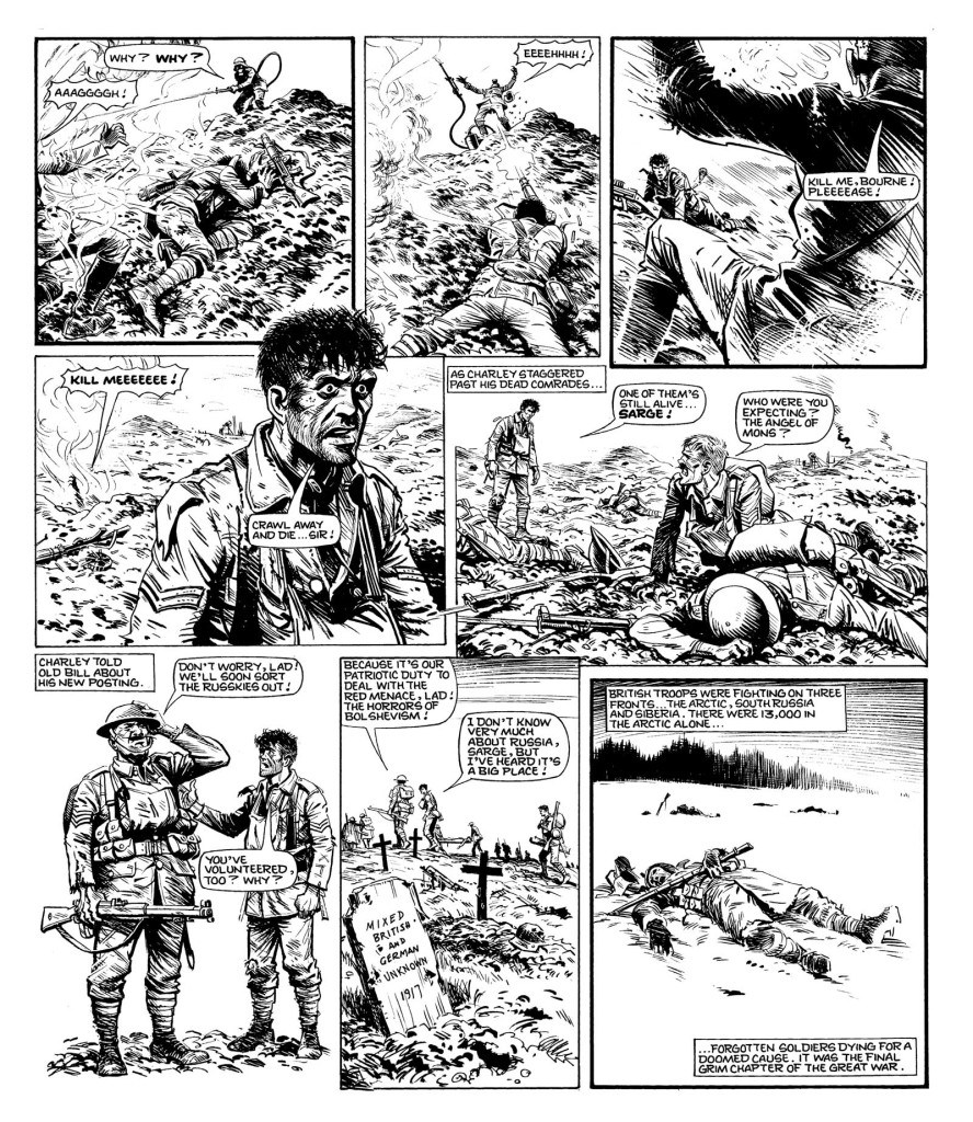 """A grim fate for Captain Snell, Charley's frequent nemesis, on the last day of World War One in """"Charley's War"""""""