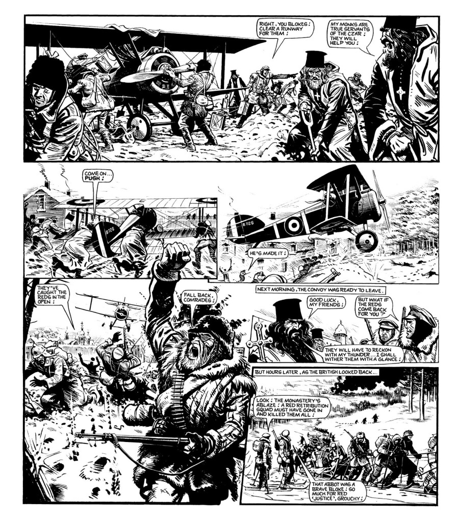 """Action in Russia in one of the final """"Charley's War"""" pages to be written by Pat Mills."""