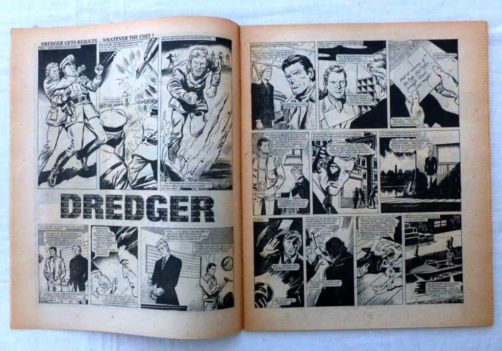 """The opening spread of """"Dredger"""" from Action Issue 37, offered on eBay in 2015."""