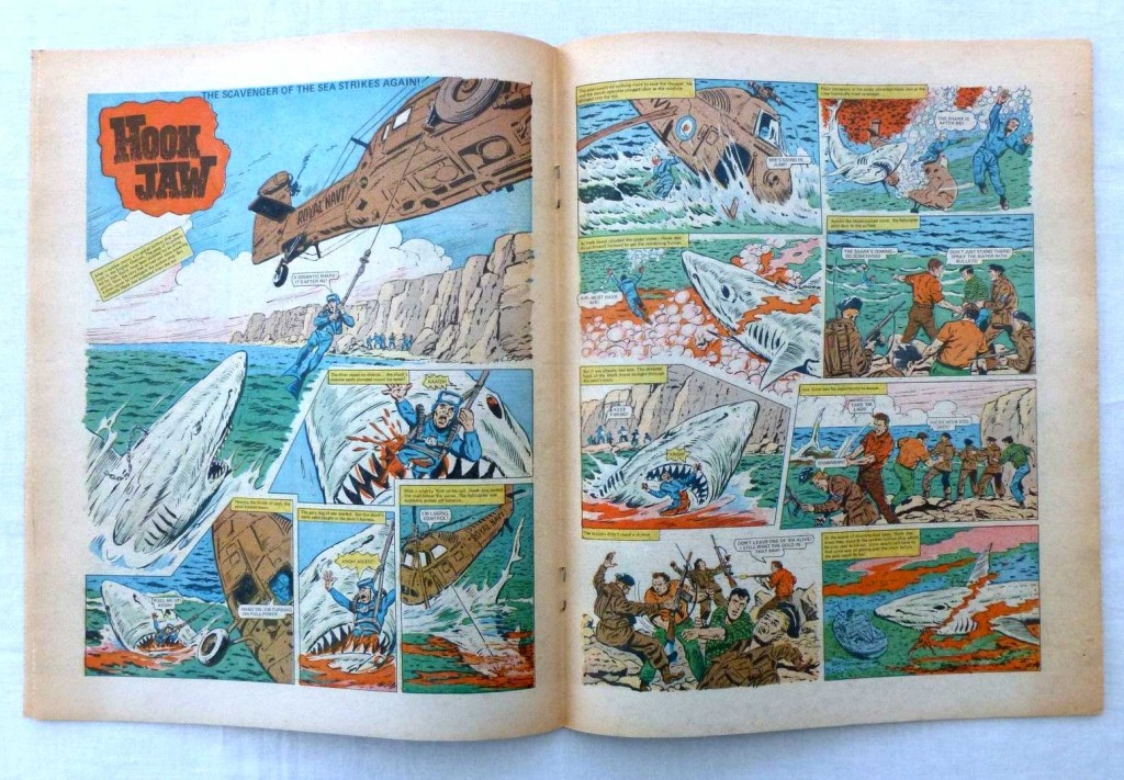 """The opening spread of """"Hookjaw"""" from Action Issue 37, offered on eBay in 2015."""