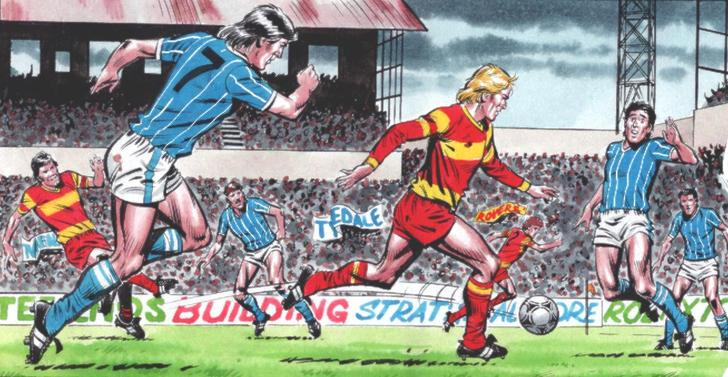 A panel of Roy of the Rovers in action by David Sque, running onto a pass from Blackie Gray! Roy of the Rovers © Egmont UK