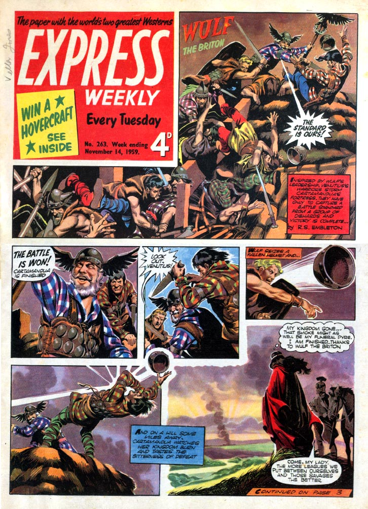 Express Weekly Issue 263, 1959, featuring Wulf the Briton by Ron Embleton